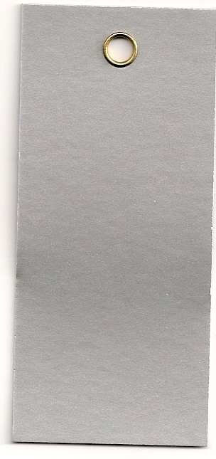 3-1/8 X 1-3/8 SILVER FOIL METAL EYELET TAGS 1000s